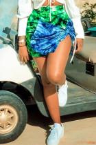 Green Fashion Sexy Regular Print Tie Dye Skirt