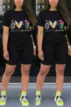Black Fashion Casual Sportswear Short Sleeve O Neck Regular sleeve Regular Print Two Pieces