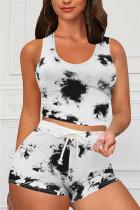Black Casual Sportswear Sleeveless O Neck Tank Regular Print Tie Dye Two Pieces