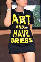 Black Fashion Casual Regular sleeve Short Sleeve O Neck T-shirt Dress Mini Letter Solid Dresses