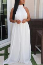 White Fashion Casual Mesh Sleeveless Hanging neck Jumpsuits