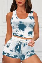 Sky Blue Casual Sportswear Sleeveless O Neck Tank Regular Print Tie Dye Two Pieces