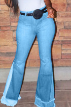 Light Blue Fashion Casual Mid Waist Denim Trousers (Without Belt)