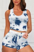 Blue Casual Sportswear Sleeveless O Neck Tank Regular Print Tie Dye Two Pieces