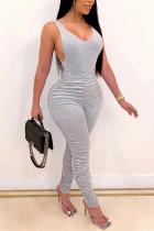 Gray Fashion Sexy V Neck Sleeveless Spaghetti Strap Skinny Solid Jumpsuits