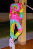 Multi Fashion Casual Short Sleeve O Neck Regular Sleeve Short Print Tie Dye Two Pieces