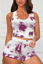 Rose Red Casual Sportswear Sleeveless O Neck Tank Regular Print Tie Dye Two Pieces