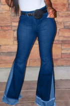 Deep Blue Fashion Casual Mid Waist Denim Trousers (Without Belt)