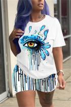Blue Fashion Casual Short Sleeve O Neck Regular sleeve Regular Eyes Printed Two Pieces