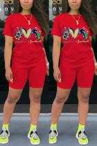 Red Fashion Casual Sportswear Short Sleeve O Neck Regular sleeve Regular Print Two Pieces