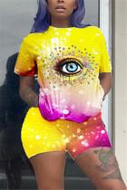 Yellow Fashion Casual Short Sleeve O Neck Regular Sleeve Regular Eyes Printed Two Pieces