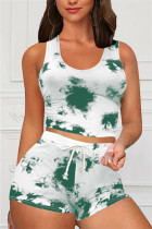 Light Green Casual Sportswear Sleeveless O Neck Tank Regular Print Tie Dye Two Pieces