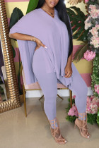 purple Street Solid Straight Short Sleeve Two Pieces
