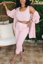 Pink Fashion Sexy adult Ma'am Patchwork Solid Three-Piece Suits Straight Long Sleeve Two Pieces