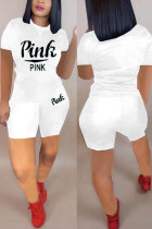 Fashion Casual Letter Print T-shirt White Shorts Set
