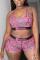 Pink Fashion Sexy U Neck Print Swimwears