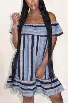 Blue Fashion Sexy Off The Shoulder Sleeveless A-Line Knee-Length Striped ruffle Dresses
