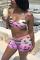 Pink Fashion Sexy V Neck Print Swimwears