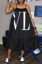 Black Fashion Off The Shoulder Sleeveless Slip Swagger Knee-Length Print Dresses