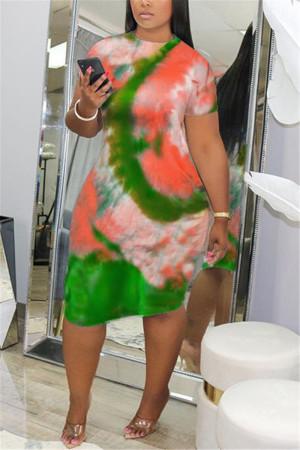 Green Fashion Casual Regular Sleeve Short Sleeve O Neck Pencil Skirt Knee Length Print Tie Dye Dresses