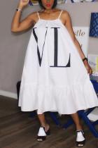 White Fashion Off The Shoulder Sleeveless Slip Swagger Knee-Length Print Dresses