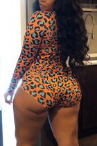 Orange Fashion Sexy Living V Neck Long Sleeve Regular Sleeve Print Leopard Plus Size Romper