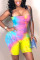Pink Yellow Fashion Sexy Strapless Sleeveless Off The Shoulder Skinny Print Tie Dye Romper