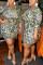 Green Fashion Sexy O Neck Three Quarter Regular Sleeve Print Leopard Wrapped Skirt Plus Size