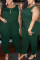 Ink Green Fashion Casual O Neck Sleeveless Spaghetti Strap Solid Plus Size Jumpsuit