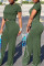 Green Fashion Sexy Short Sleeve O Neck Regular Sleeve Regular Solid Two Pieces