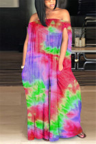 Red Fashion street Print Tie-dyed Sleeveless one word collar Jumpsuits