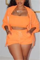 Orange Fashion Casual Long Sleeve Zipper Collar Regular Sleeve Regular Solid Three-piece Set