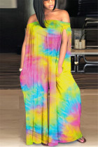 Yellow Fashion street Print Tie-dyed Sleeveless one word collar Jumpsuits