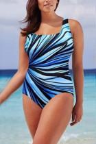 Light Blue Fashion Sexy U Neck Sleeveless Spaghetti Strap Striped Print Plus Size Swimsuit