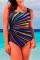 Colorful Fashion Sexy U Neck Sleeveless Spaghetti Strap Striped Print Plus Size Swimsuit