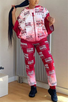 Wine Red Fashion Casual Long Sleeve Hooded Collar Regular Sleeve Regular Letter Print Two Pieces