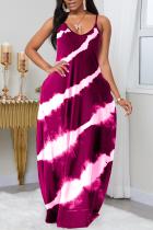 Wine Red Fashion Sexy V Neck Sleeveless Spaghetti Strap Gradual Change Print Printed Dress Plus Size