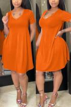 Orange Fashion Regular Sleeve Short Sleeve V Neck Short Sleeve Dress Knee Length Solid Dresses