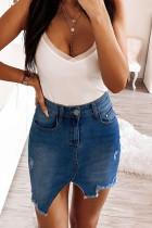 Deep Blue Fashion Sexy Skinny Solid Skirt