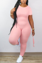Pink Fashion Casual O Neck Short Sleeve Regular Sleeve Skinny Solid Jumpsuits