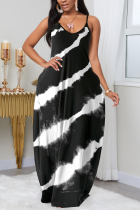 Black Fashion Sexy V Neck Sleeveless Spaghetti Strap Gradual Change Print Printed Dress Plus Size