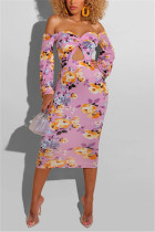 Pink Fashion Sexy Off The Shoulder Long Sleeve Strapless Printed Dress Mid Calf Print Dresses