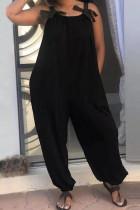 Black Fashion Casual Spaghetti Strap Sleeveless Spaghetti Strap Loose Patchwork Jumpsuits