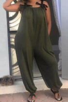 Army Green Fashion Casual Spaghetti Strap Sleeveless Spaghetti Strap Loose Patchwork Jumpsuits