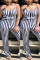 Black Fashion Sexy V Neck Sleeveless Spaghetti Strap Striped Plus Size Jumpsuit