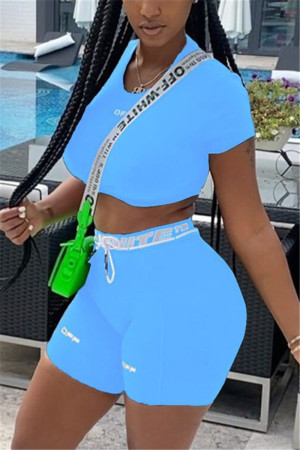 Fluorescent Blue Fashion Casual Short Sleeve O Neck Regular Sleeve Short Solid Two Pieces
