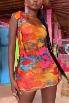 Colorful Sexy Off The Shoulder Sleeveless One Shoulder Printed Dress Mini Print Dresses