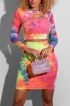 Multi Fashion Sweet Celebrities Long Sleeve O Neck Regular Sleeve Regular Mixed Printing Two Pieces
