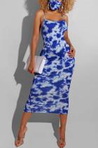 Blue Fashion Sexy Elegant Spaghetti Strap Sleeveless Spaghetti Strap Sling Dress Mid Calf Mixed Printing Dresses(With Mask)