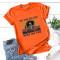 Orange Fashion Casual Daily O Neck Short Sleeve Regular Sleeve Regular Letter Character Tops